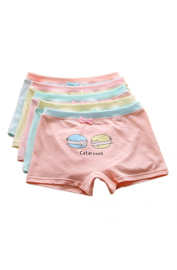 Big Girls' Underwear Cotton Boyshort Hipster Kids Briefs Panties 5 Pack